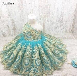 Небесно-Голубое Бальное Платье для девочек, пышные платья с цветами цвета шампанского, многоуровневые платья для девочек с цветами для свад...