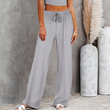 Sexy High Waist Sport Leggings Women Casual Solid Straight Elastic Pants Loose Bandage Trousers Wide Leg Pants Squat Proof Pants