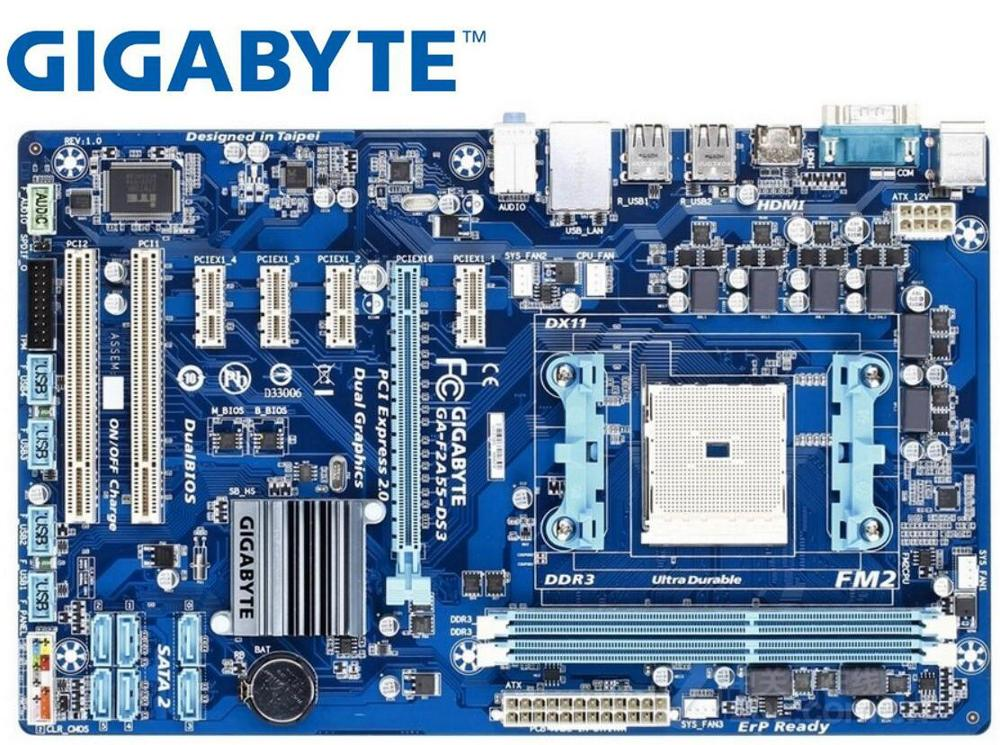 Gigabyte GA-F2A55-DS3 Original Motherboard For AMD  Socket FM2 DDR3 F2A55-DS3 USB2.0 64GB A55 USED Desktop Motherboard