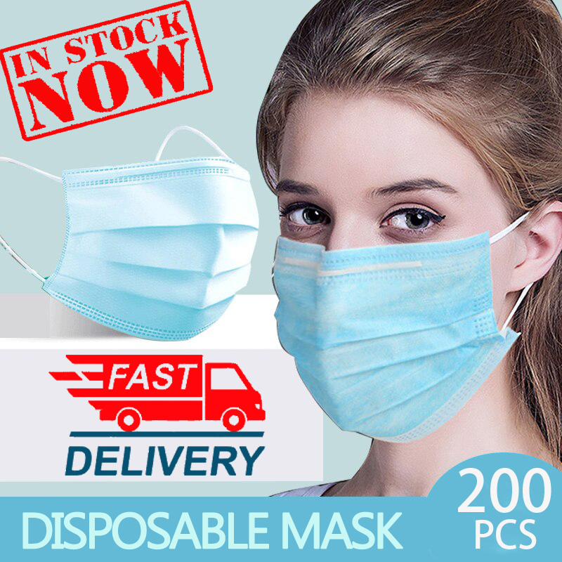 <font><b>100</b></font> 200 PCS Masque 3 Layer Non-woven Face Mask Thickened Disposable Safety Mouth Mask Mascarillas Mascherine Arrive quickly image