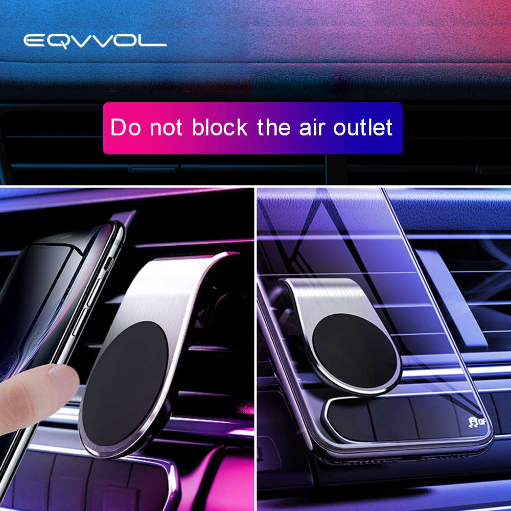 Eqvvol Magnetic Car Phone Holder 360 Degree Rotating Bracket L Shape Air Vent Mount Stand In Car GPS Stand On For IPhone Samsung