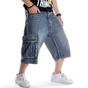 Image 3 - メンズプラスサイズルーズバギーデニムショート男性ジーンズファッションストリートヒップホップロング 3/4 カプリカーゴショーツポケットバミューダ男性ブルー