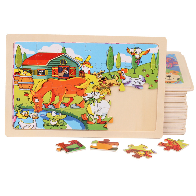 22.5 * 15 Cm Wooden 24 Pieces Cartoon Animal Baby Wooden Puzzle Girl Boy Educational Toy