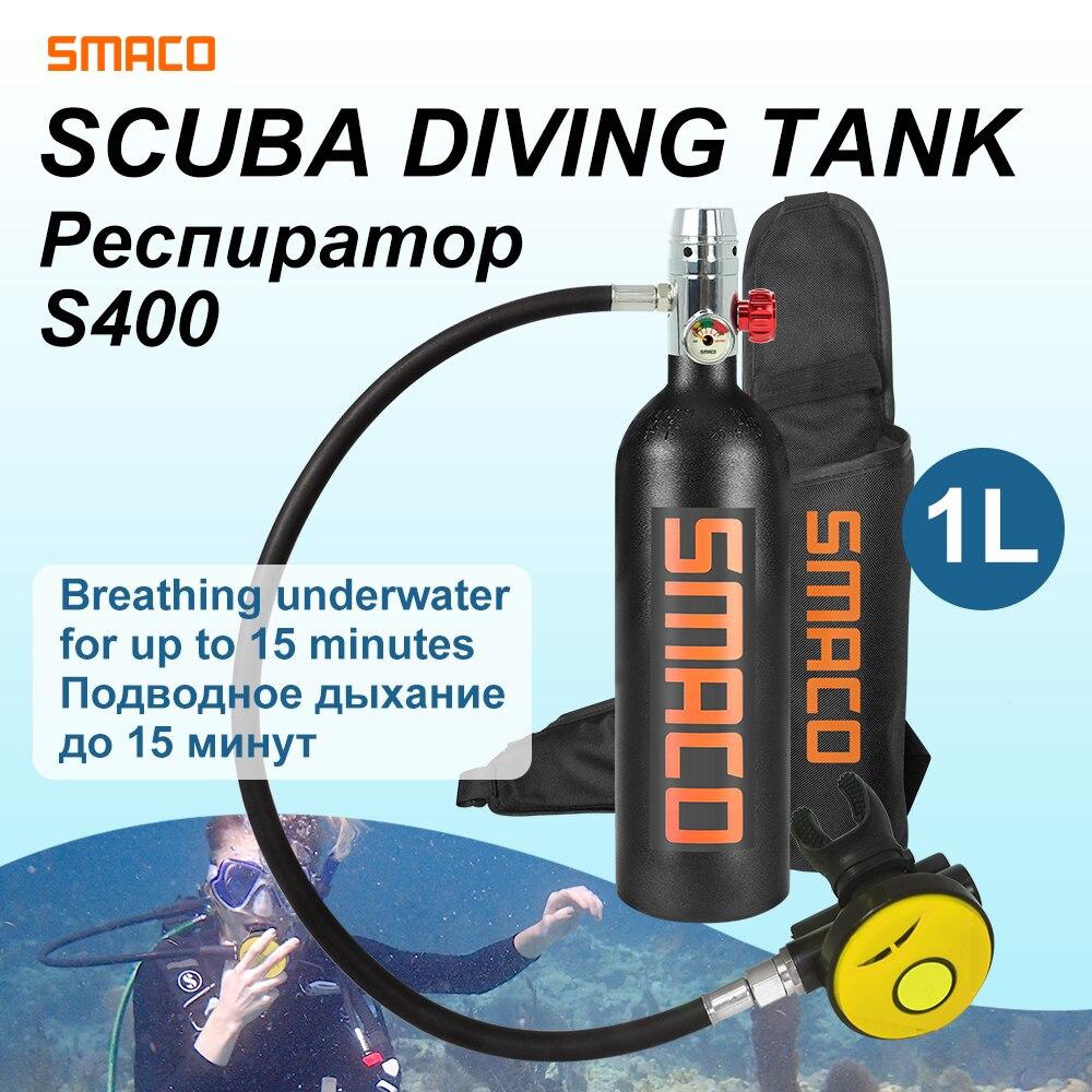 SMACO 1L Diving Equipment Mini Scuba Snorkel Cylinder S400 Buceo Scuba Diving Oxygen Air Tank Underwater Breath 15 Minutes
