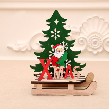 1 Pcs Creative Wood Christmas Sled Table Top Decor Kids Fun Puzzle Gifts DIY Santa Xmas Tree Snowman Show Window Home Supplies image