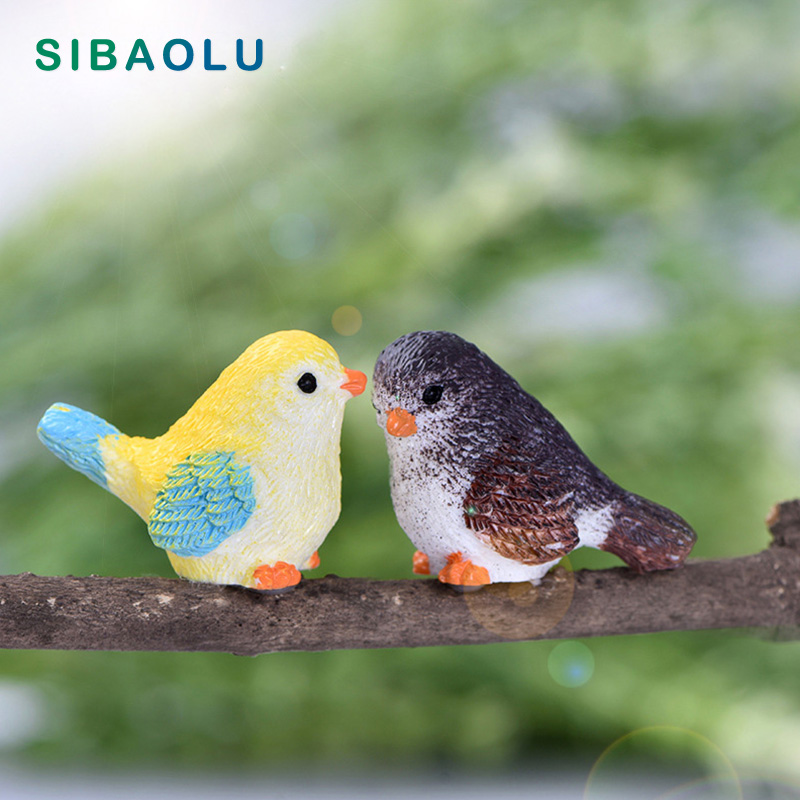 2pcs Miniature Birds Eagle Fairy Garden Micro Landscape Ornament Bonsai Pot