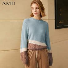 Amii Minimalism Winter Sweaters For Women Fashion Patchwork Oneck Loose Female Pullover Causal Women Tops  12080066