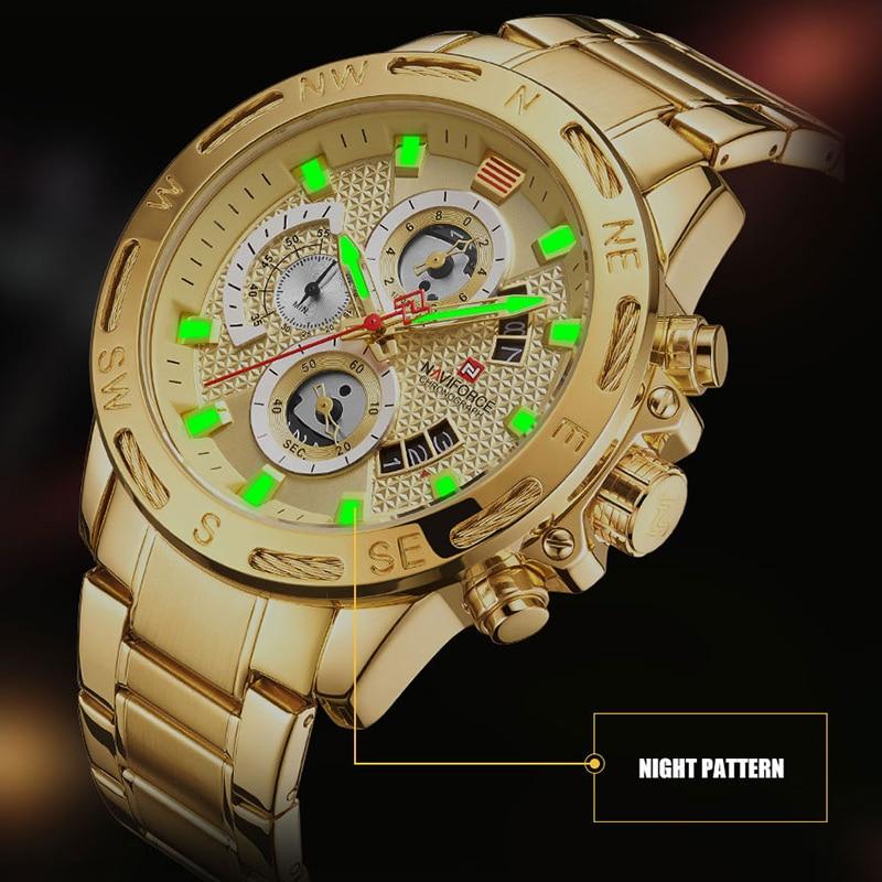 NAVIFORCE Luxury Brand Mens Sport Watches Gold Full Steel Quartz Watch Men Date Week Waterproof Military Clock Relogio Masculino