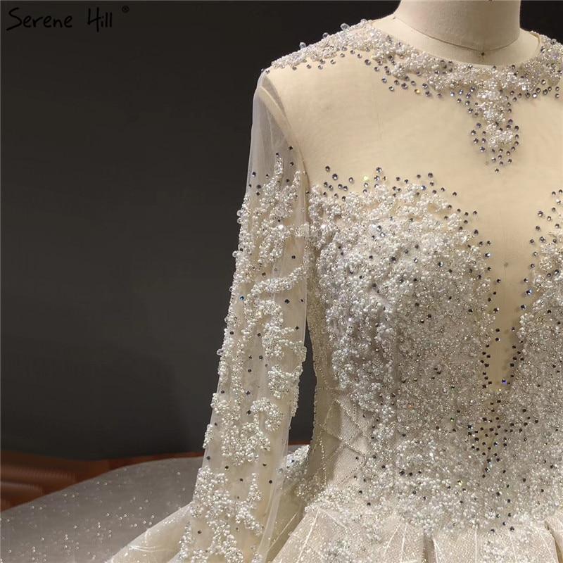 Image 4 - Ivory High end Sparkle Crystal Beading Wedding Dresses Long Sleeves Sexy Luxury Bridal Gowns HA2271 Custom MadeWedding Dresses   -