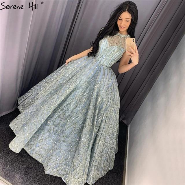 Klar Wasser Blau Hohe Kragen Abendkleider 2020 Kurzarm Spitze Pailletten Brautkleider Design Real Photo HM66981