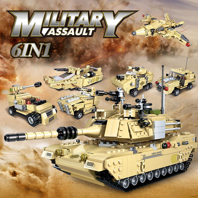 6 In 1 929PCS M1A2 Main Battle Tank Building Blocks Military WW2 Soldier Figures Model Vehicle Bricks Toys for Boys