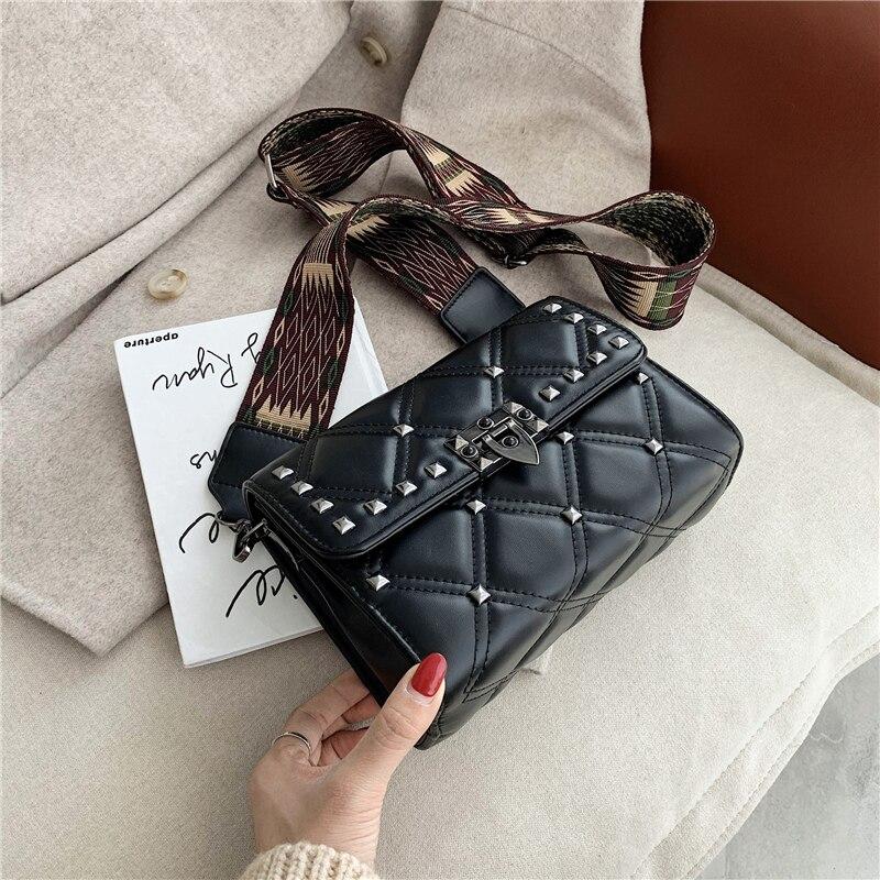 2020 new women's bag rivet ladies bag fashion shoulder bag casual messenger bag wide shoulder strap women bag mobile phone bag