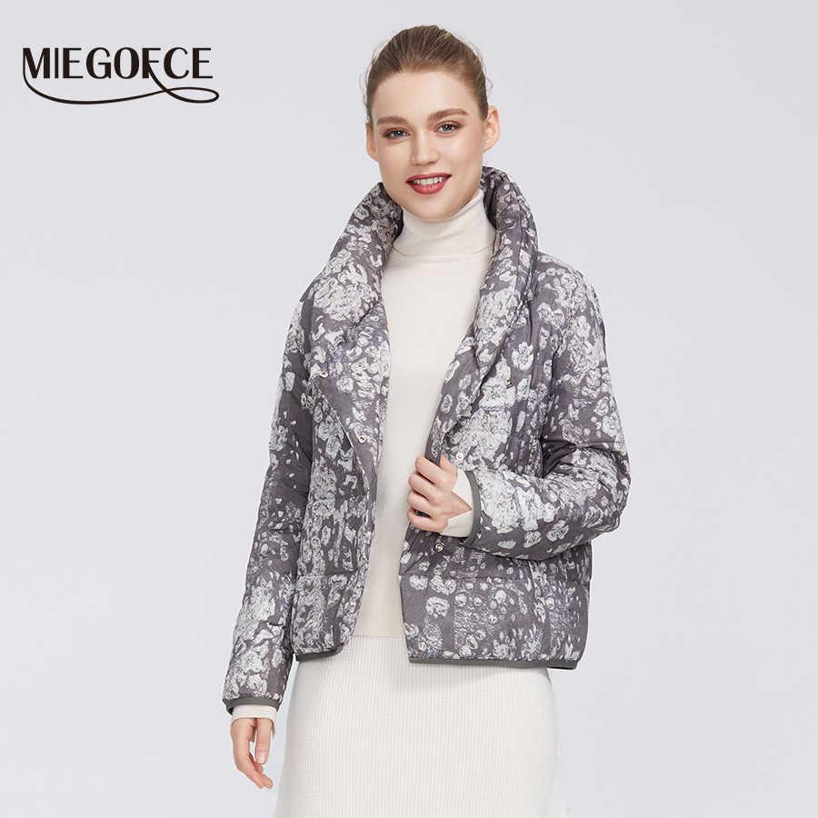 Miegofce 2020 nova coleção primavera feminino impressão jaqueta feminina casaco de comprimento médio gola em v quente blusão parka