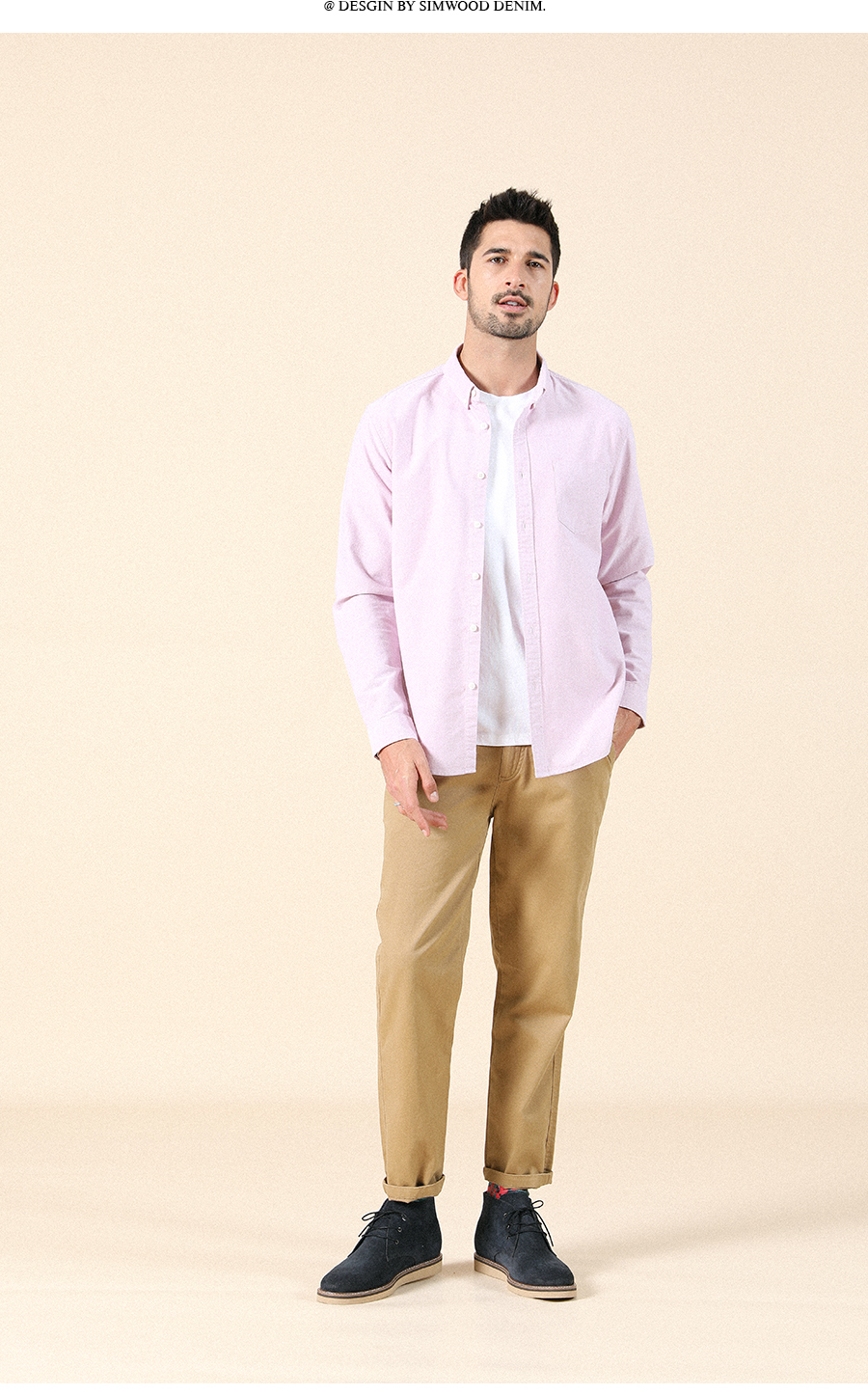 H1d3791acb54746f6a36c6f95c1be7be0U - SIMWOOD 21s/2 oxford shirts men classical casual shirt single chest pockets 100% cotton spring new brand clothing SJ110377