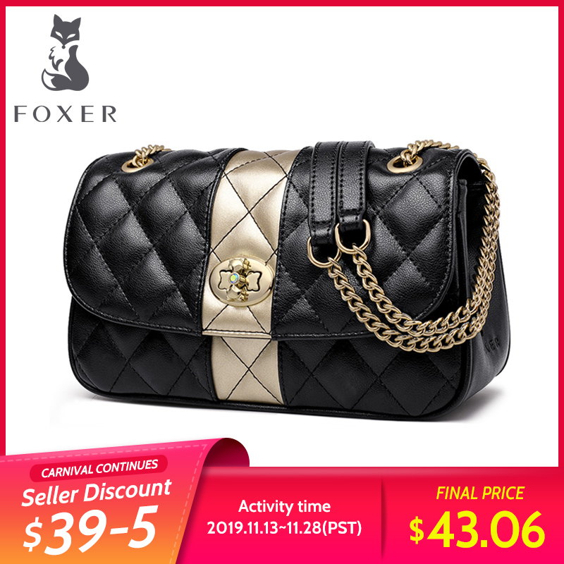 FOXER Women Chain Strap Messenger Bag Diamond Lattice Flap Lady High Quality Leather Ladies' Shoulder Bags Valentine's Day Gift