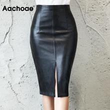 Черная Женская юбка из искусственной кожи, новинка, сексуальная миди юбка с высокой талией, облегающая юбка с разрезом, офисная юбка-карандаш, длина до колена размера плюс