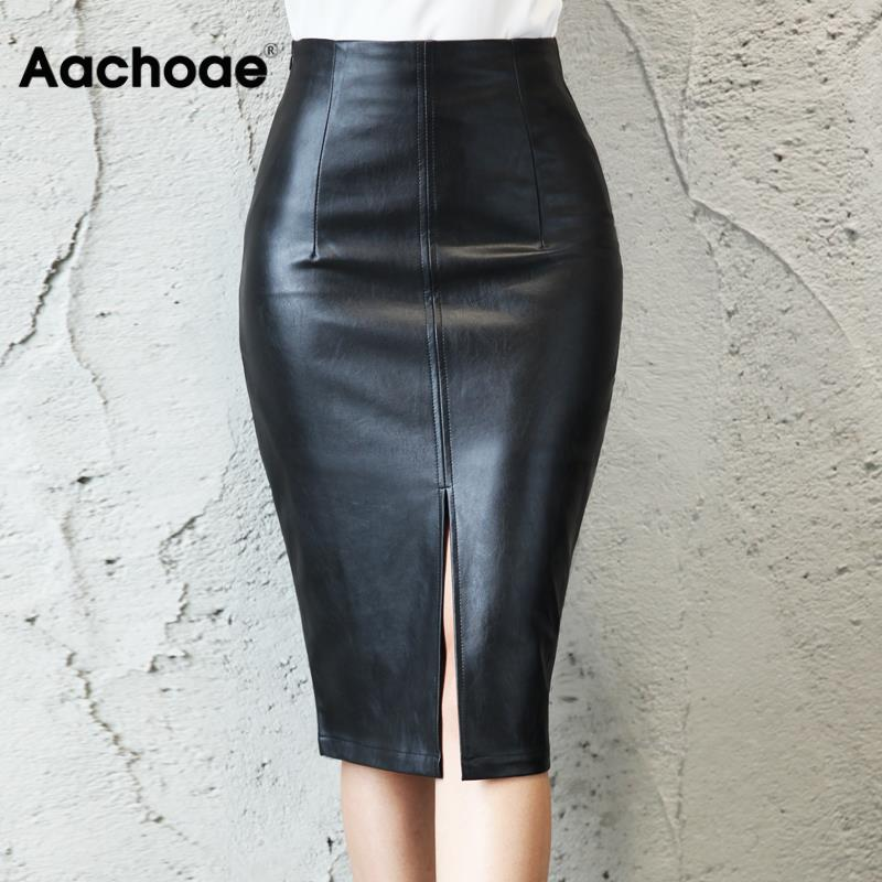 Aachoae Black PU Leather Skirt Women 2020 New Midi Sexy High Waist Bodycon Split Skirt Office Pencil Skirt Knee Length Plus Size 1
