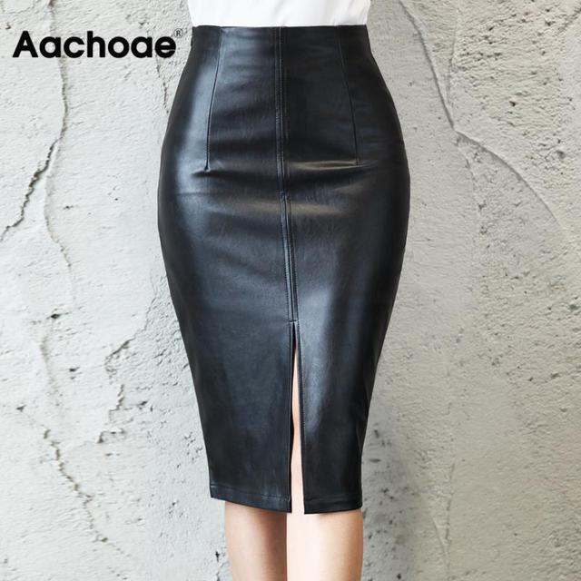 Aachoae Black PU Leather Skirt Women 2020 New Midi Sexy High Waist Bodycon Split Skirt Office Pencil Skirt Knee Length Plus Size 1
