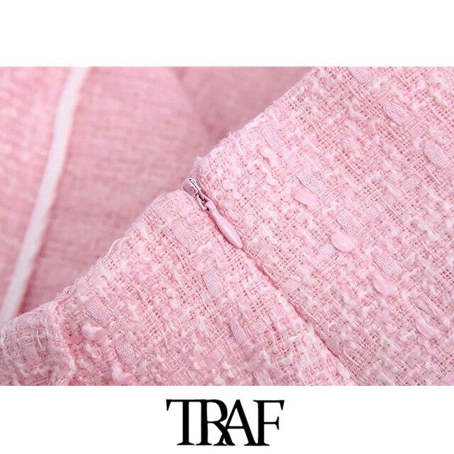 TRAF Women Chic Fashion Tweed Shorts Skirts Vintage High Waist Back Zipper Female Skort Mujer 6