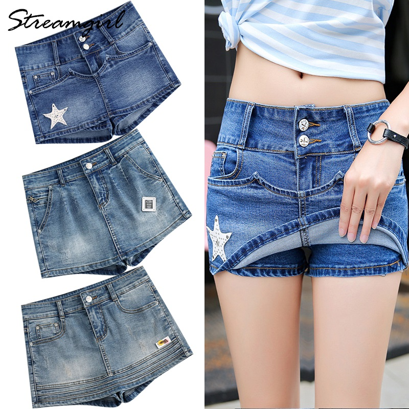 Streamgirl Summer Skirt Shorts Women's Denim Short Jeans Plus Size Blue Skirts Micro Mini Denim Shorts Skirts Womens Summer