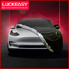 LUCKEASY cubierta de coche Tesla modelo 3, tela Oxford, impermeable, para todo tipo de clima, protección contra la lluvia Uv