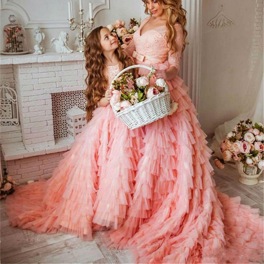 Real Picture Pink Flower Girls Dress Princess Lace Ball Gown for Wedding Kids Birthday Gown Pageant Party Dress Custom Made Size