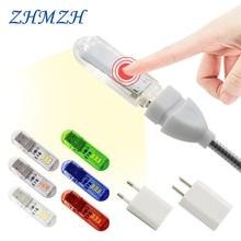 Сенсорный переключатель DC5V USB светодиодный мини-Книжный светильник 1,5 Вт Светодиодный настольный светильник для чтения красный синий зеленый белый портативный гибкий USB светодиодный ночник s
