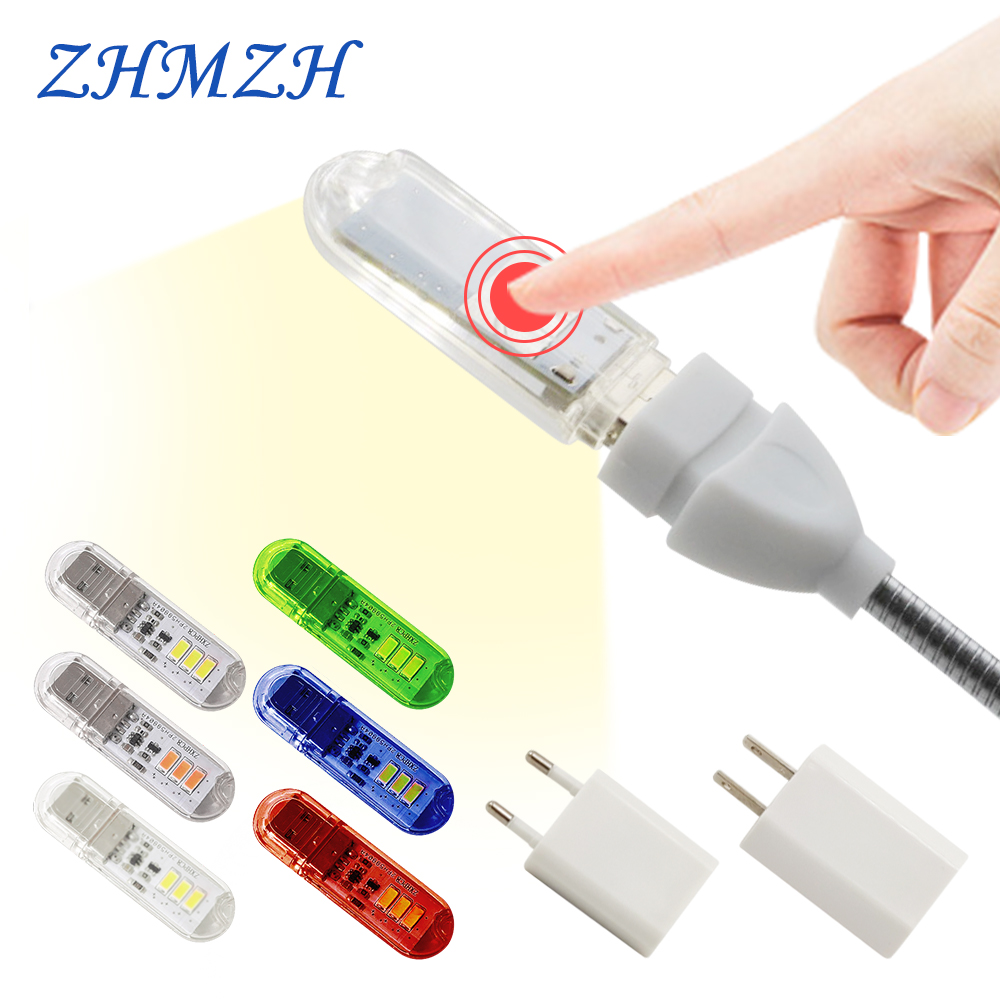 Сенсорный переключатель DC5V USB LED мини-лампа для книг 1,5 Вт Светодиодная настольная лампа для чтения красный синий зеленый белый Портативный ...