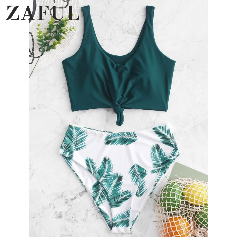 ZAFUL Leaf Print Knot Mix And Match Tankini Swimsuit High Waisted Tank Top Suits Padded 2020 Tropical Elastic Two Piece Swimsuit