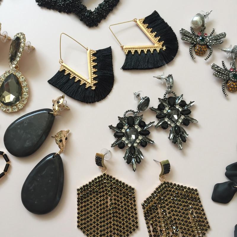 Ztech crystal resins flower pendant earrings 2019 ladies exaggerated fashion black tassel charm earrings wedding friend gift in Drop Earrings from Jewelry Accessories
