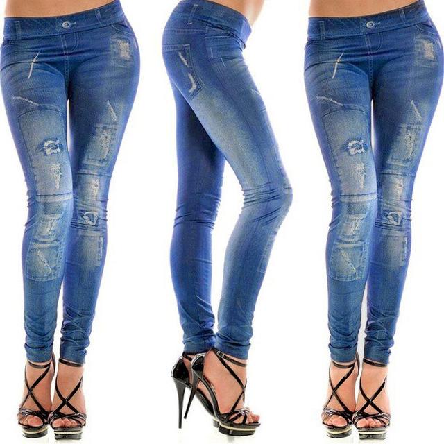 Stylish Gray Faux Jean Denim Like Women Leggings Pants