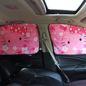 Image 2 - רכב חלון שמשיה כיסוי קיטי חתול קריקטורה מגנטי צד שמש צל וילון אוניברסלי צד חלון שמשיה