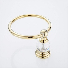 Luxury Crystal Towel Holder Golden Towel Ring Round Wall Mounted Towel Rack Bar Holder Classic Bathroom Accessories цена 2017