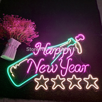 Happy New Year Festival Atmospher Custom Neon Light Sign Handmade Home Party Light Up Sign Christmas Gift  Room Decor Aesthetic недорого