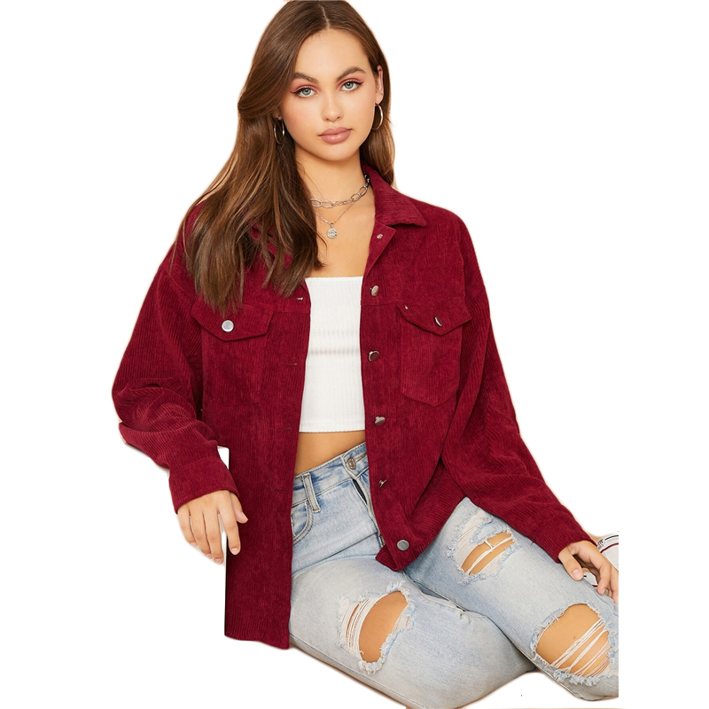 SHEIN Flap Pocket Front Cord Casual Jacket Coat Women Autumn Winter Single Breasted Long Sleeve Casual Solid Outwear Coats