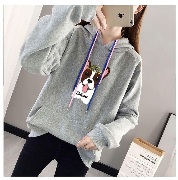 Long Sleeve Women Fashion Hoodie Sweatshirt Harajuku Jumper Hooded Pullover Tops Women Gray Hooded Black
