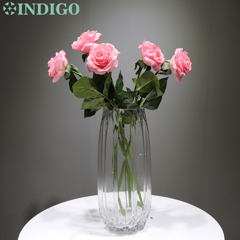 INDIGO - 5pcs/Lot Latex Coating Pink Rose Real Touch Artificial Flower Wedding Party Event Free Shipping
