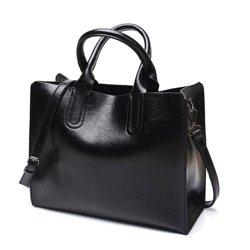 Sacs à main femmes en cuir véritable sac à bandoulière pour femmes zip poche grande capacité mode 2019 noir femmes sac à provisions