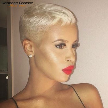 Rebecca Short Human Hair Wig Straight Pixie Cut Wigs Lace Part Lace Frontal Blonde Wig Pre Plucked Brazilian Short Lace Wig 613# image