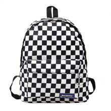 Black and white plaid Harajuku style backpack 2018 Korean version of the new label retro fashion bag