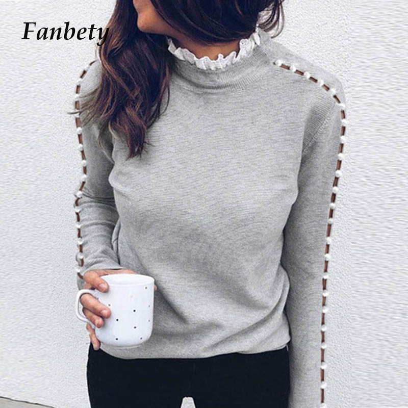Women Spring Shoulder Buckle Blouse Shirts Elegant Autumn Lace Patchwork Long Sleeve Pullovers Elegant Casual Stand Collar Tops