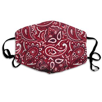 paisley mask Fashion Unisex Mouth/Face Cover Masks, Paisley Bandana Red Half Face Mask Comfy Breathable Washable
