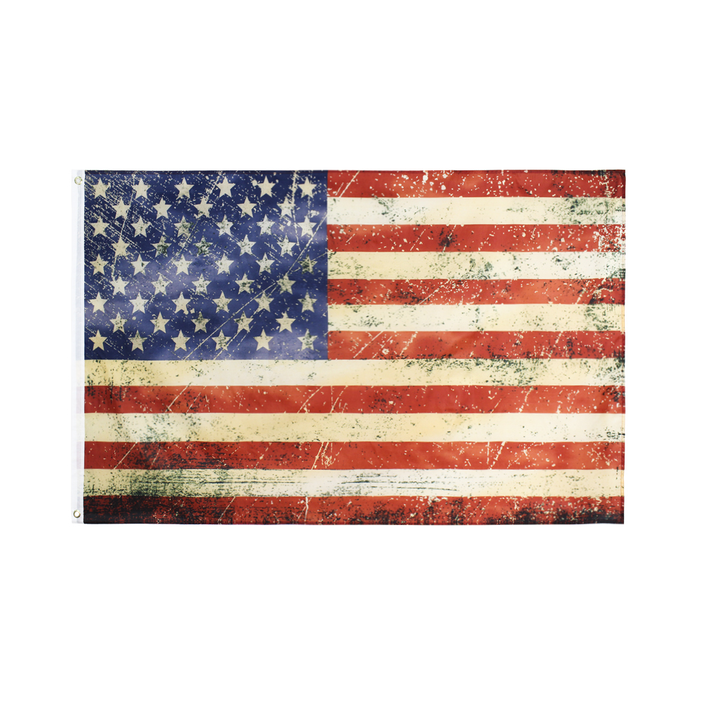 Xiangying hanging 90*150cm Vintage Style Tea Stained old Antiqued American US Flag For Decoration