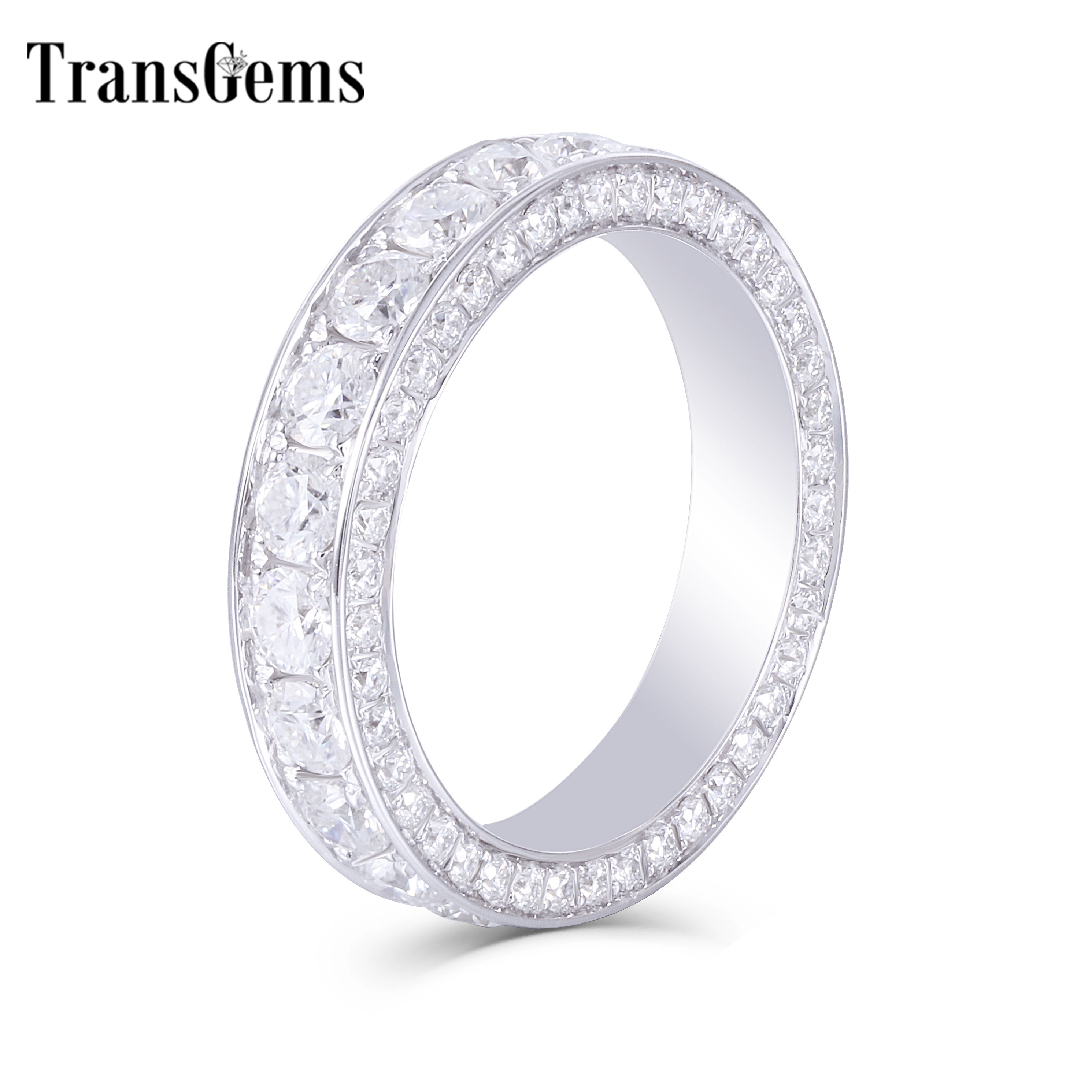 TransGems 3CTW F Colorless Lab Moissanite Wedding Band Set Real Diamond Accents Bridal Rings 14K White Gold for Women