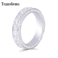 Transagems 14K White Gold F Color Moissanite Eternity Anniversary Wedding Band Engagement Band for Women and Men Fine Jewelry