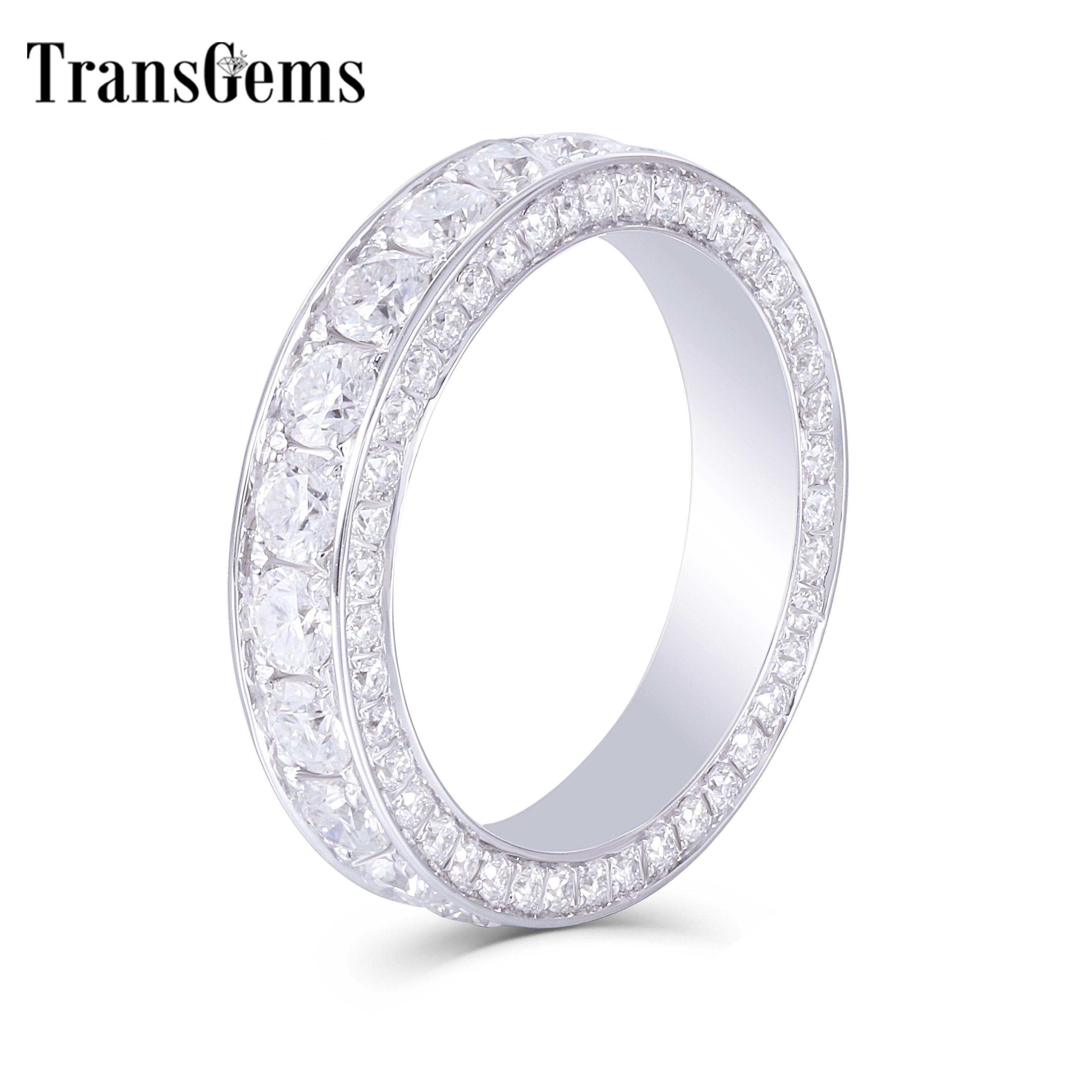 Transagems 14K białe złoto F kolor Moissanite wieczność rocznica Wedding Band pierścionek zaręczynowy dla kobiet i mężczyzn biżuteria w Pierścionki od Biżuteria i akcesoria na  Grupa 1