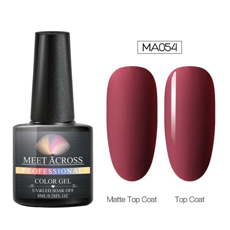 Bertemu Di 8 Ml Gel Nail Polish Matte Color Nail Gel Lacquer Rendam Off Uv Gel Varnish Tahan Lama DIY Nail Art Lacquer