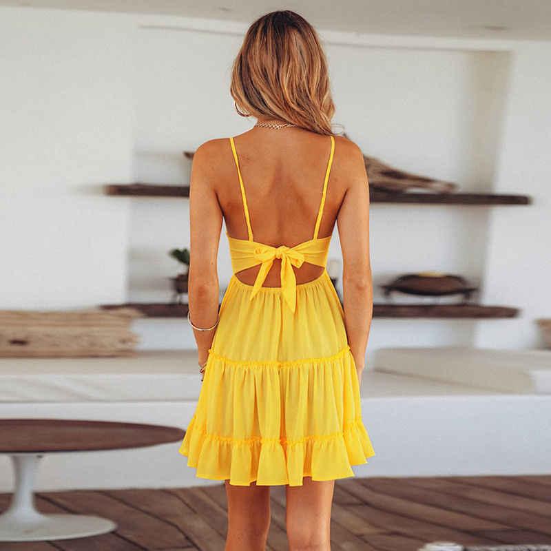 Boho ฤดูร้อนผู้หญิงเซ็กซี่ Strappy ลูกไม้สีขาวมินิเดรสหญิงสุภาพสตรี V คอ Sundress สีดำสีเหลืองสีชมพู