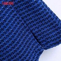 Tangada Women Spaghetti Strap Blue Texture Tweed Slim Mini Dress Female Chic Back Zipper Hem Split Party Dress BE63 4