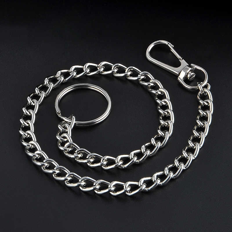 High Quality 38cm Long Metal Keyring Keychain Silver Chain Hipster Pant Jean Key Wallet Belt Ring Clip Men's HipHop Jewelry